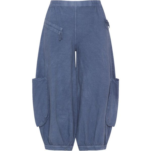 Kekoo Blue Plus Size Cotton and linen cargo trousers (290 MYR) ❤ liked on Polyvore featuring pants, blue, plus size, drawstring pants, women's plus size cargo pants, cargo pants, plus size wide leg pants and wide-leg pants