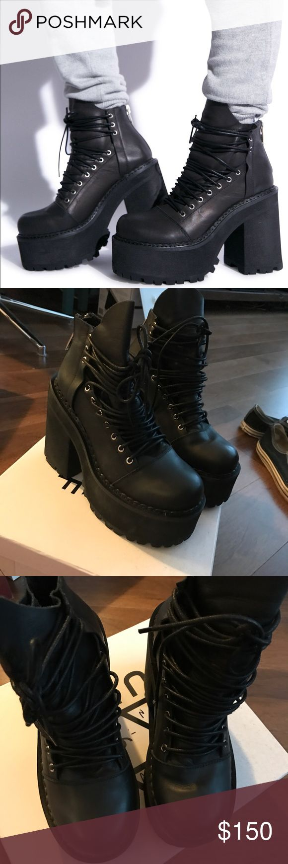 UNIF thrash boots Sz 7 Unif THRASH boots Sz 7 worn ONCE still for sale on unifs site for 188$ UNIF Shoes Platforms