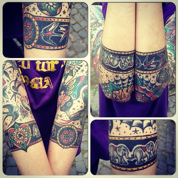 that's a cool way to do a kind of sleeve. do like a band in the middle around the elbow