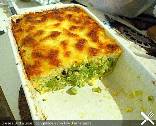 Brokkoli - Grieß - Auflauf mit Hüttenkäse