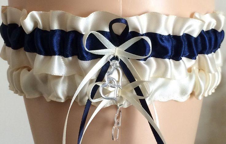 Ivory and Navy Blue Wedding Garter, Bridal Garter Sets