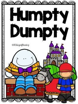 Lots of activities to go with the Nursery Rhyme Humpty Dumpty.  Great for those first days of school before you get into your Reading Program.  Activities for First Sounds, Segmenting, Blending, Sequencing, Comprehension, and Fluency are included. Pocket chart words and pictures, vocabulary words, printable poems and a printable easy reader.