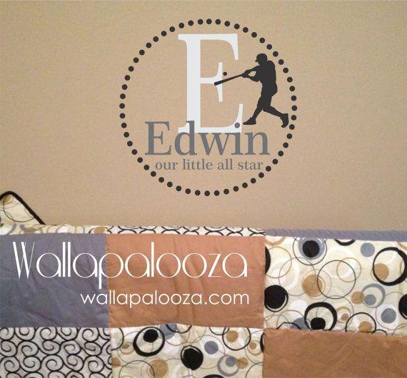 Baseball+Wall+Decal++Custom+Baseball+Wall+by+WallapaloozaDecals,+$35.00