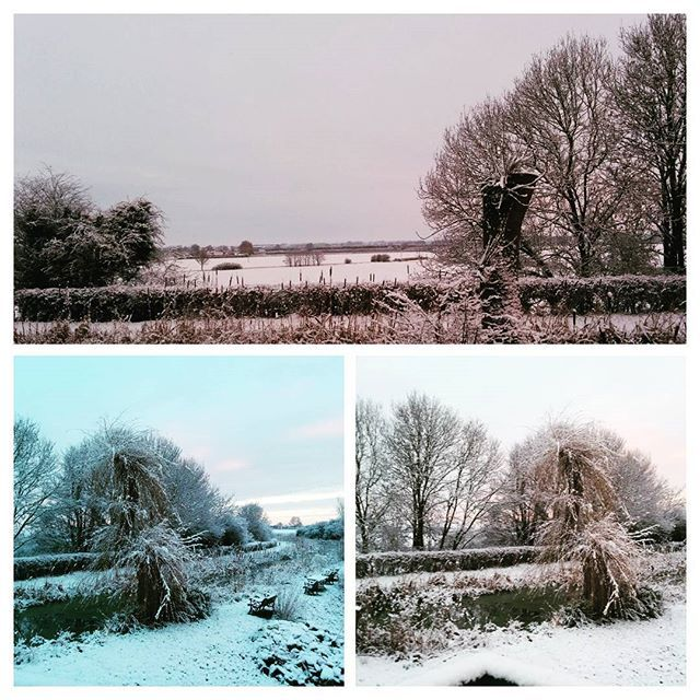 A snowy start to Sunday on the Grantham canal #cosycottage #wintersnow #granthamcanal