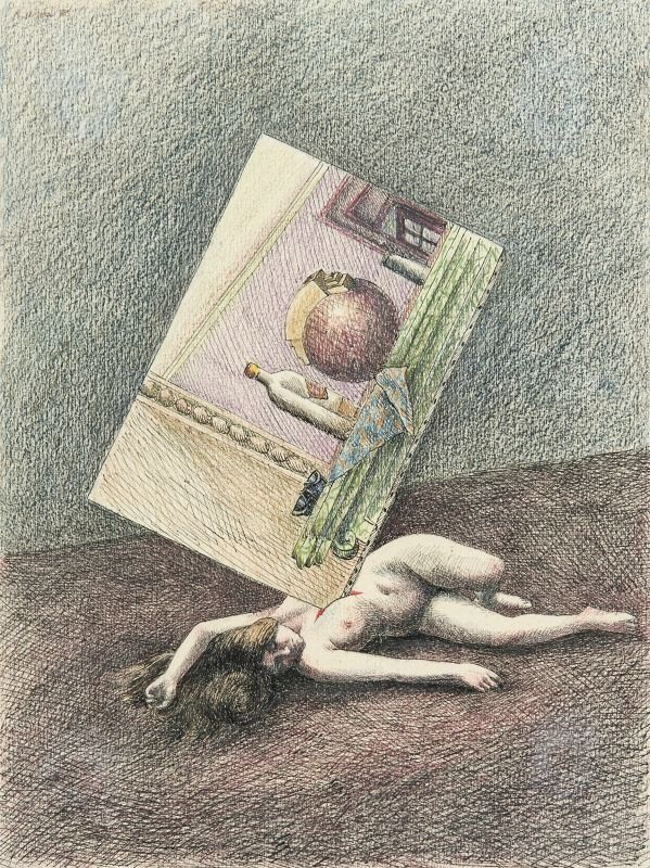Roland Topor - Still life, 1973, Pen drawing in India ink and colour pencil, 32 x 24 cm