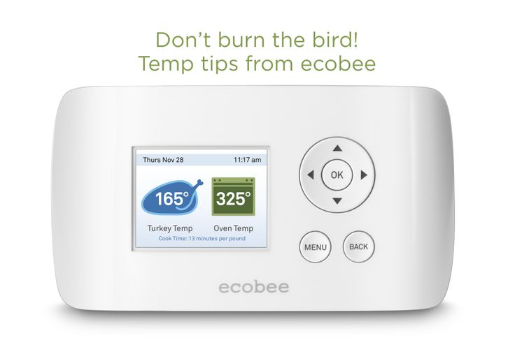 Temp Tips from ecobee!  For the perfect turkey tomorrow: - Set your oven temp to a minimum of 325F  - Cook your turkey to a minimum internal temp of 165F