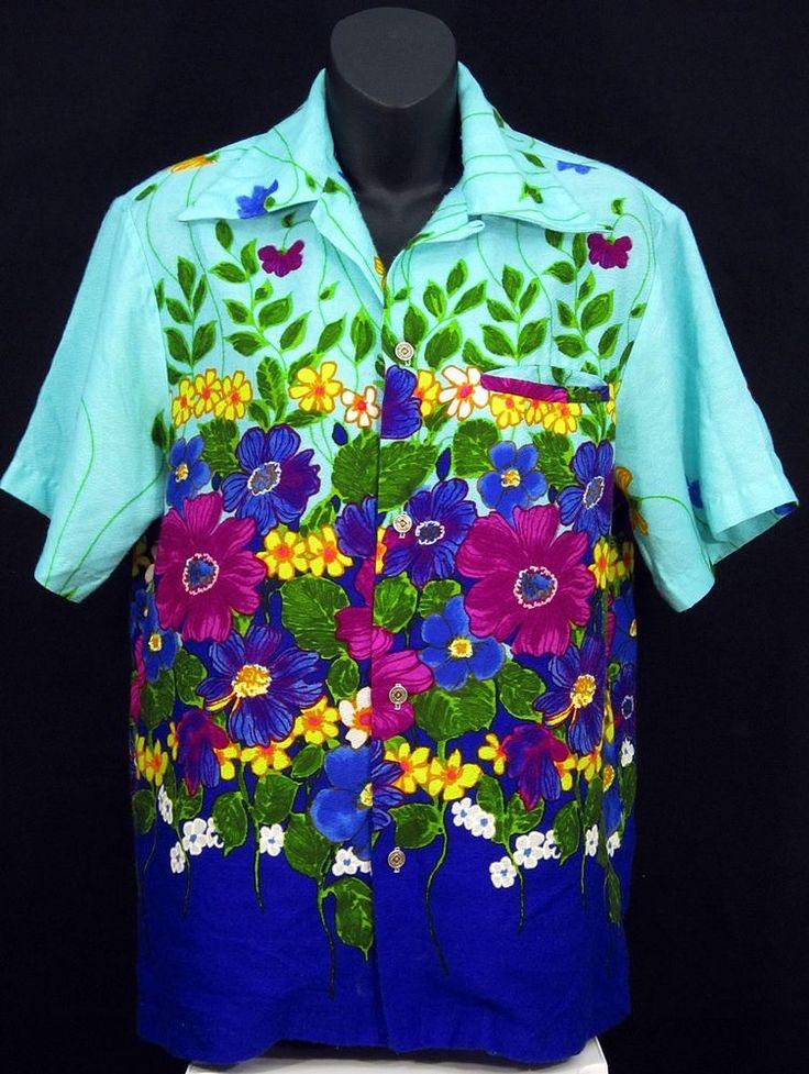 McINERNY Hawaii Vintage Bold Floral Pattern Mens Hawaiian Shirt | Clothing, Shoes & Accessories, Vintage, Men's Vintage Clothing | eBay!