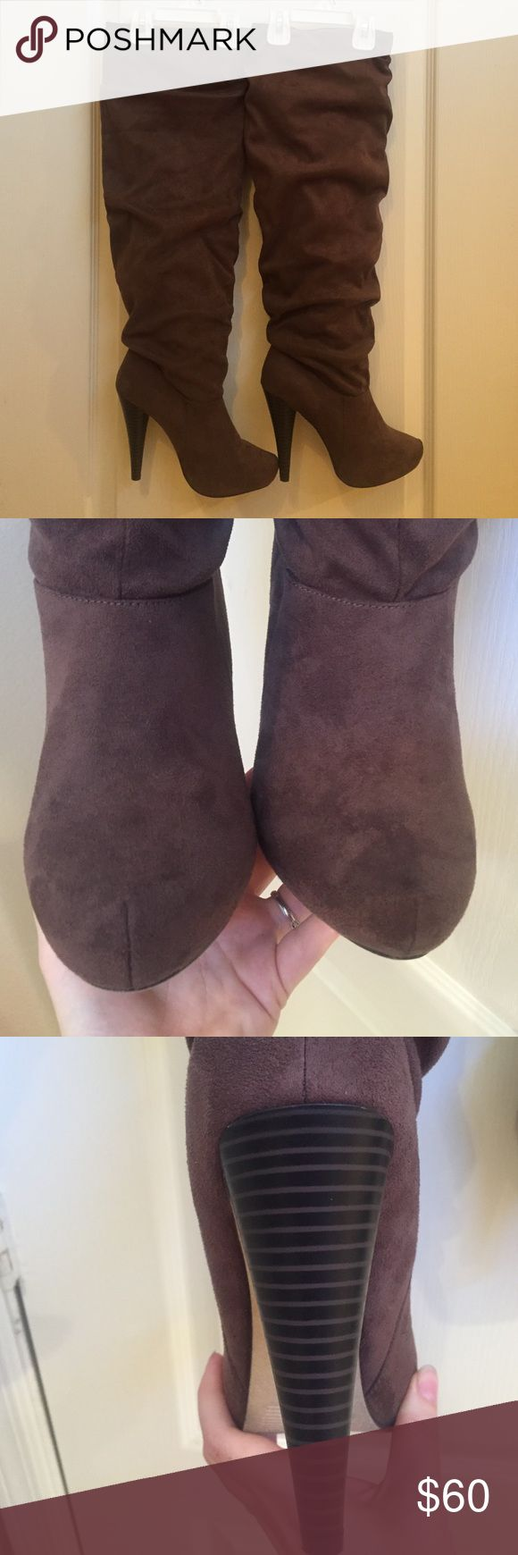 Size 8.5 Michael Antonio brown over the knee boots These are brand new never worn out only in the house.  They are a soft suede like material.  They have a 15 1/2in circumference.  Heel height measured from the outside of heel is 5in. Michael Antonio Shoes Over the Knee Boots