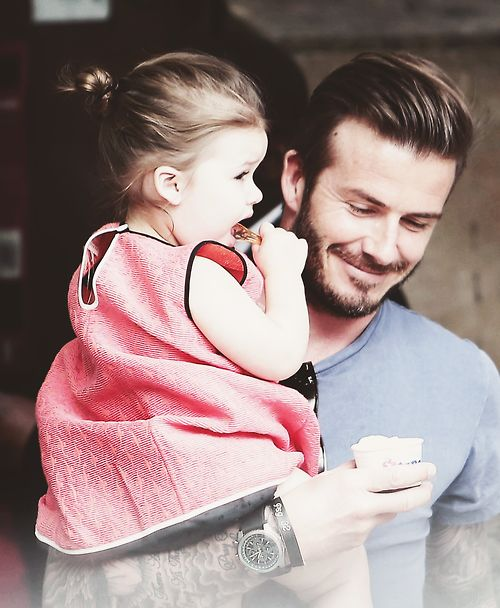 What a gorgeous picture - Harper and David Beckham. #celebrity