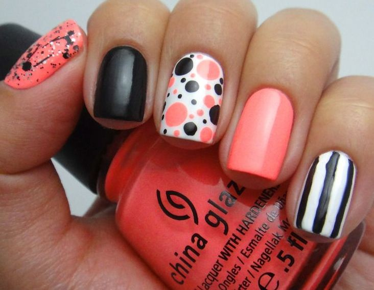 Polka dots stripes and splatter paint design