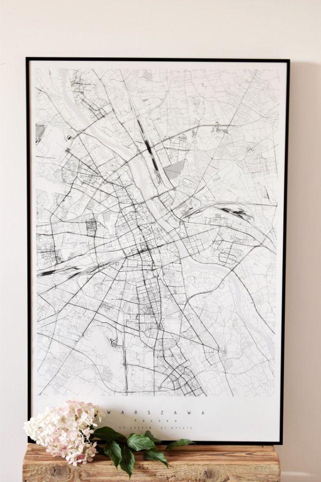 Dekoracyjna mapa Warszawy