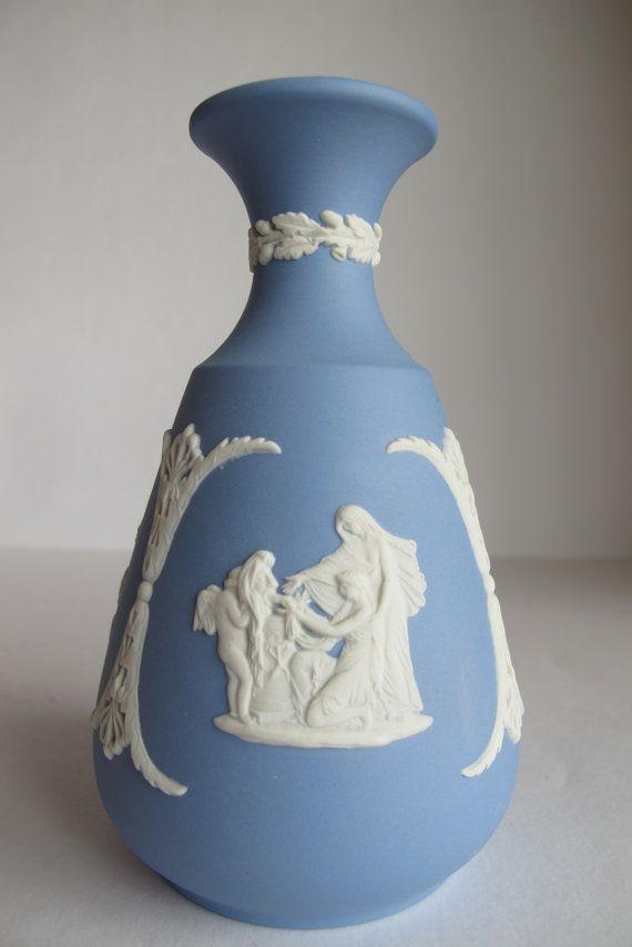 Wedgwood Vase Vintage Wedgwood Vase Blue Vase Grecian Vase Vintage Home Dekor Vintage Wedding Tischkultur Französisch Land Dekor Blumen