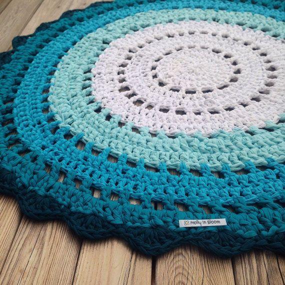 Blue rug, Boho decor, Doily rug, bohemian decor dorm, crochet rug, handmade rug, recycled rug, housewarming gifts, blue decor, rug rag