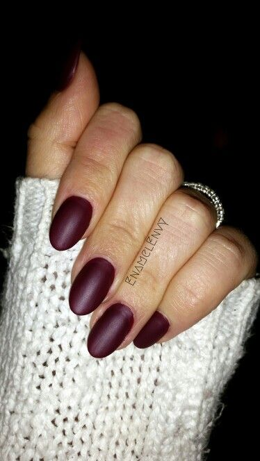 Chic yet edgy almond nails in a matte burgundy I find these to be so sexy #EnamelEnvy