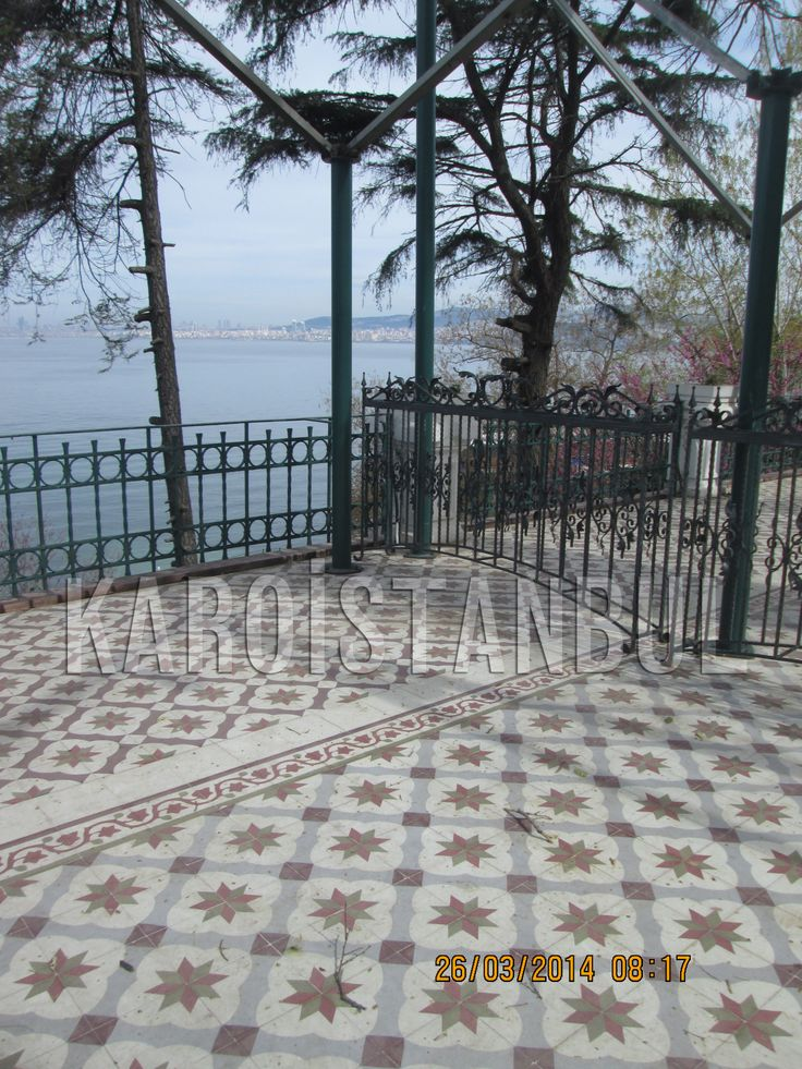 This place is Buyukada clubhouse garden / Istanbul, Turkey. The floor handcrafted tiles and was made by Karoistanbul.