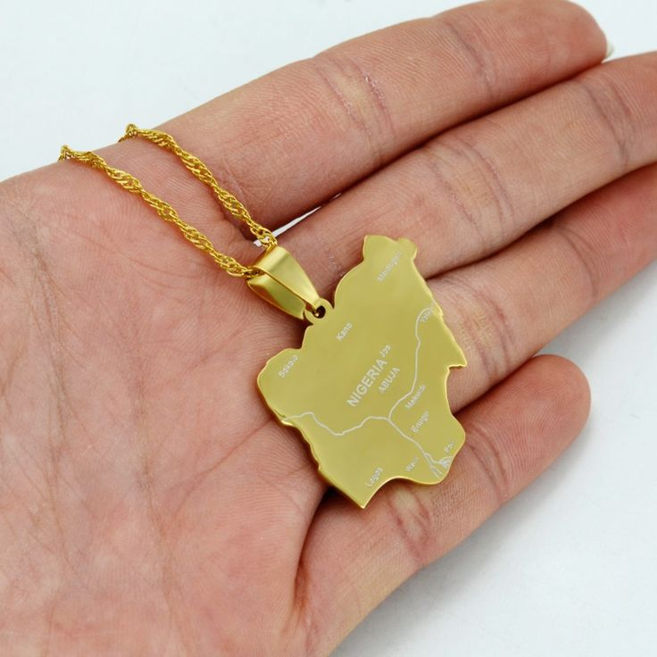 Pendant Size 2.4CM X 2.7CM / Gold Nigeria Map Pendant & Necklaces,Country Maps Africa Nigerians Maps Jewelry #008421