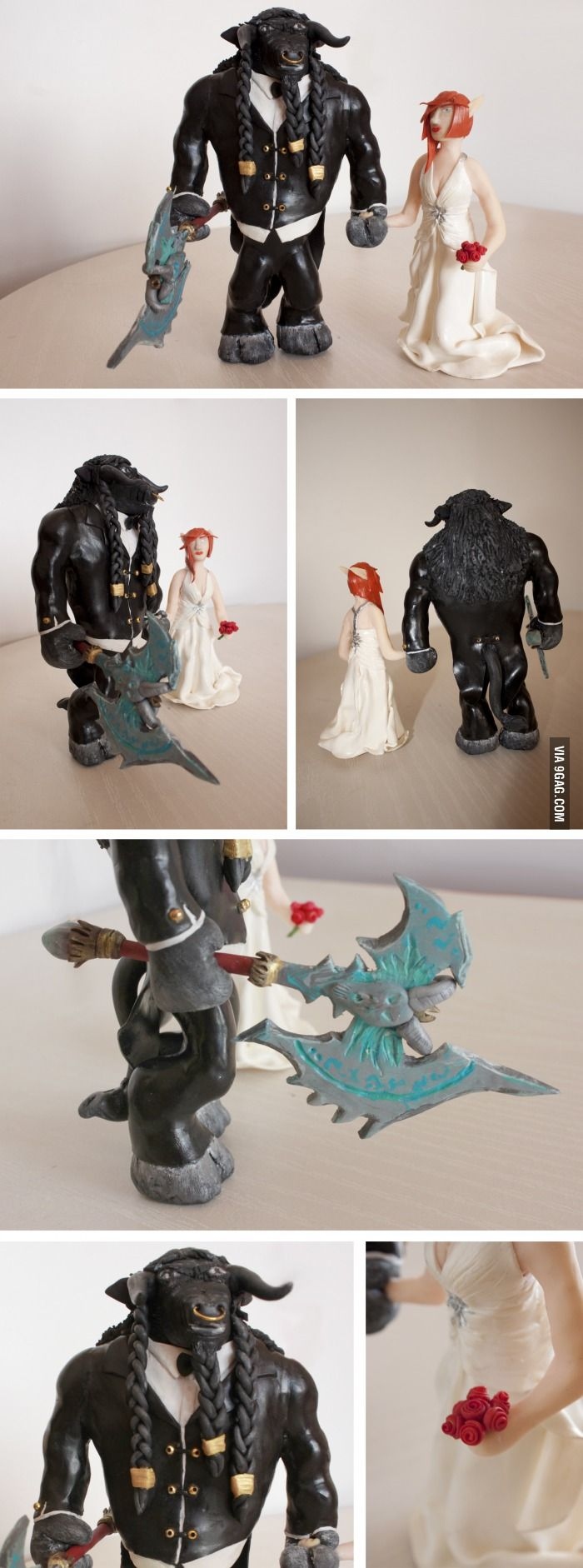 I made this wedding cake toppers for my friends out of polymer clay. They play WoW - tauren warrior and belf priest :)