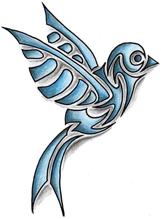 Amazing Blue Tribal Bird Tattoo Design