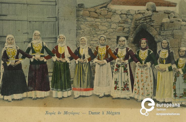 "Postcard Tinted photo of women dancing ""Trata"" with local costumes from Megara, Greece. Creator: Librairie de l' ""Hestia"""