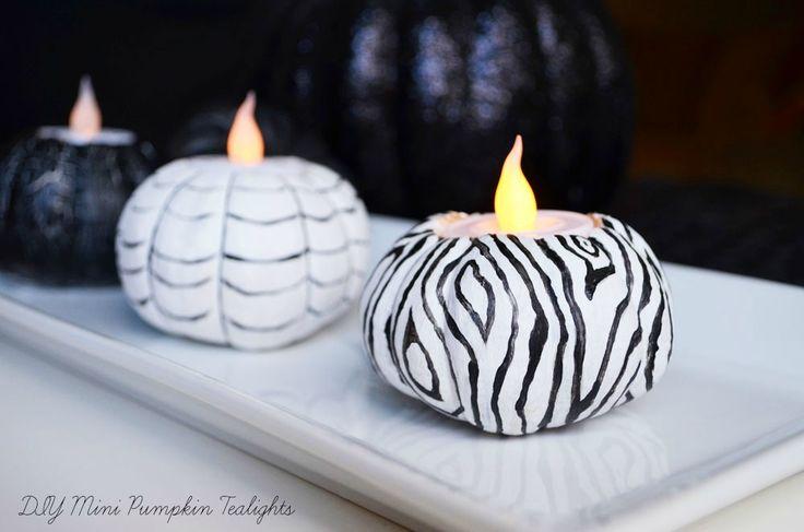 Black and White Mini Pumpkin Tealights