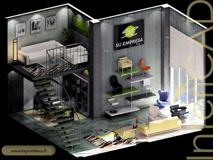 Plan 3D d'une salle d'exposition réalisé avec InteriCAD. Logiciel: www.logicieldeco.fr