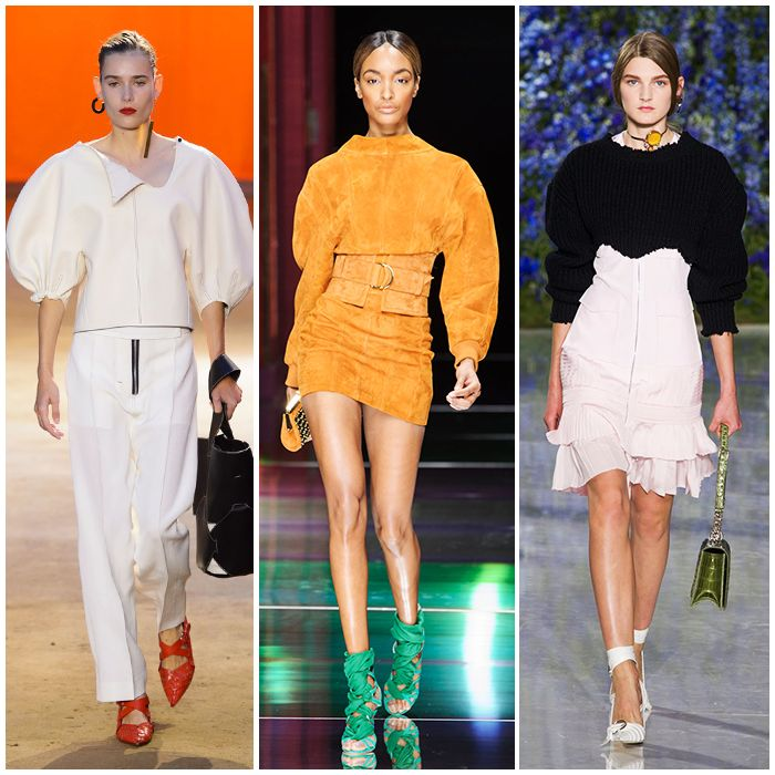 Voluminous Sleeves Dropped, rounded, voluminous shoulders had a moment at Balmain, Céline, and Christian Dior. Girly girls, don't be put off by this trend: Styled with a tightly fitted mini skirt or a ruffled hemline, these runway pieces didn't feel masculine.   Read more: http://stylecaster.com/runway-fashion-trends-spring-2016/#ixzz3p7GuXBJs