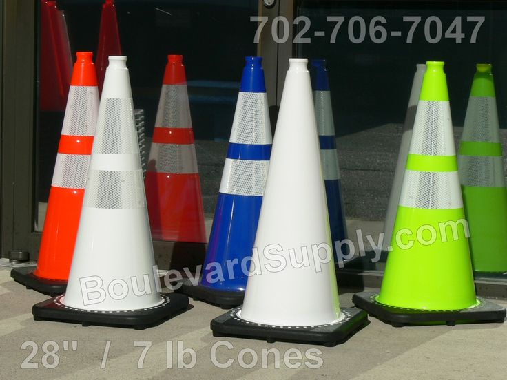 """Now serving bright attention getting traffic cones. Standing 28"""" high and weighing in at 7 lbs each, these aren't your typical #TrafficCones. The blue and white cones are ideal for valet parking services, private parking lots, utility companies, colleges and universities. The orange and lime green safety cones can also be used used for the same purpose and they are also approved for street and highway use throughout the United States."""