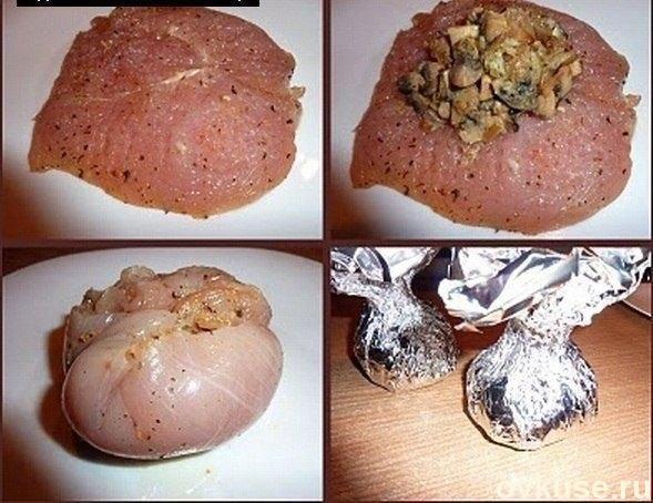куриные бомбочки -( сыр, гибы)