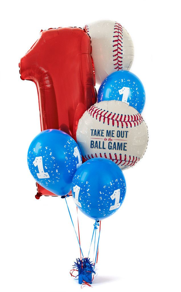 Baseball Time 1st Birthday Balloon Bouquet