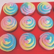 Rainbow cupcakes for baby shower