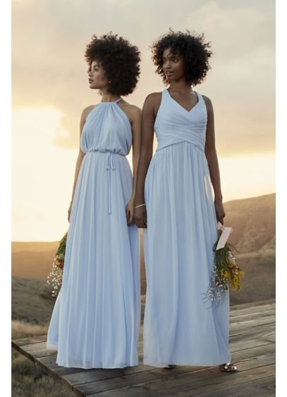 1a7e686e88 Mesh Long Bridesmaid Dress with Crisscross Back Style W10974