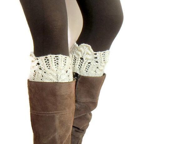 Winter Flower Boot Cuffs Choose Your Color leg warmers boot toppers lace hand knitted Made To Order for Women and Teens