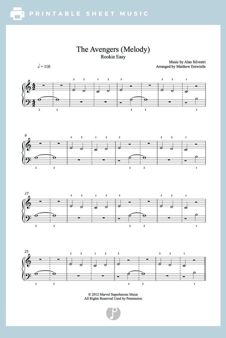 The Avengers by Alan Silvestri Piano Sheet Music | Rookie