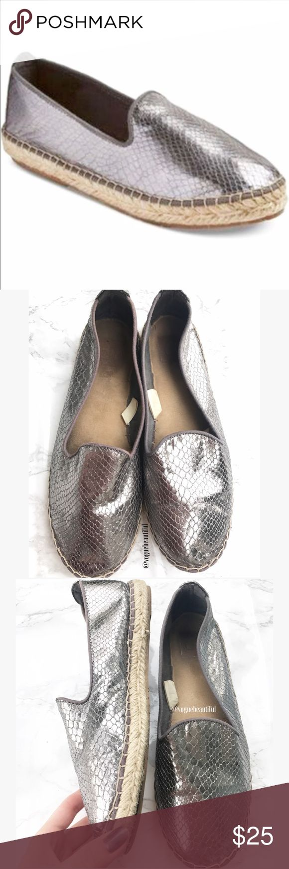 Dolce Vita Textured Silver Espadrilles Super cute Dolce Vita Textured Silver Espadrille Slip Ons - good preloved condition, some wear on the inside and bottoms but the exterior is in great shape - size 8 - box not included - !!NO TRADES!! Dolce Vita Shoes Espadrilles