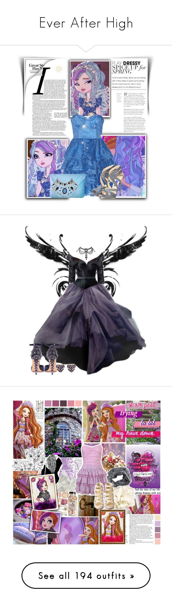 """Ever After High"" by caitikat441 ❤ liked on Polyvore featuring Sarah Jessica Parker, Columbia, Haute Hippie, Shabby Chic, Pieces, Rare London, Christian Louboutin, Hasbro, René Caovilla and ASOS"