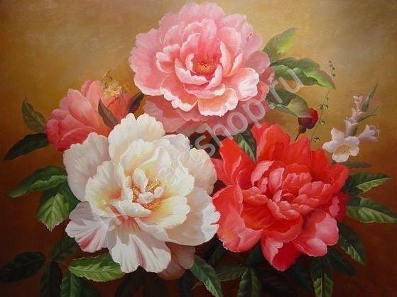 Нежные пионы Шебби Шик, картина раскраска по номерам своими руками, размер 40*50 см, цена 750 руб