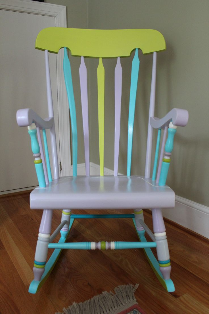 A rocking chair I got when my daughter was born 28 years ago. It was old, brown and ugly. Now it is colorful, bright and rockable.    STEPS:  Lightly sanded old finish  Wiped it down  Primed with Kilz  Used acrylic paints (wall paint or craft paint)  Painted water based poly to seal