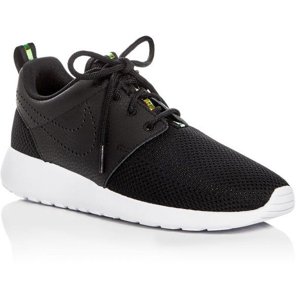 Nike Roshe One Lace Up Sneakers ($100) ❤ liked on Polyvore featuring shoes, sneakers, black, mesh sneakers, lace up sneakers, lacing sneakers, breathable mesh shoes and black lace up sneakers