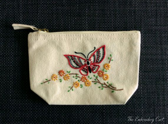 Butterfly purse Hand Embroidery Coin Purse by TheEmbroideryCart