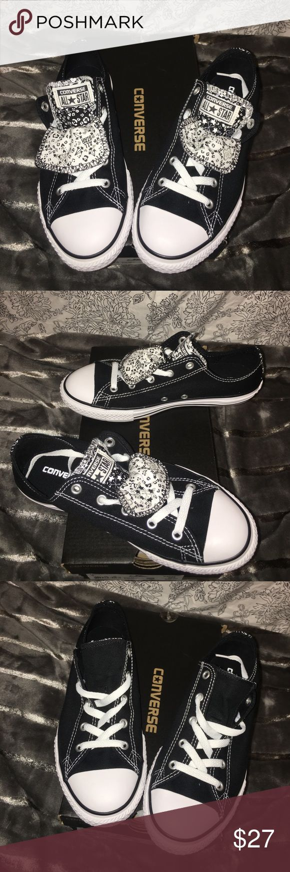 Converse double tongue, size youth 4= women 6 Brand new- box. A size 4 in kids youth, but will fit a woman 6. Converse Shoes Sneakers