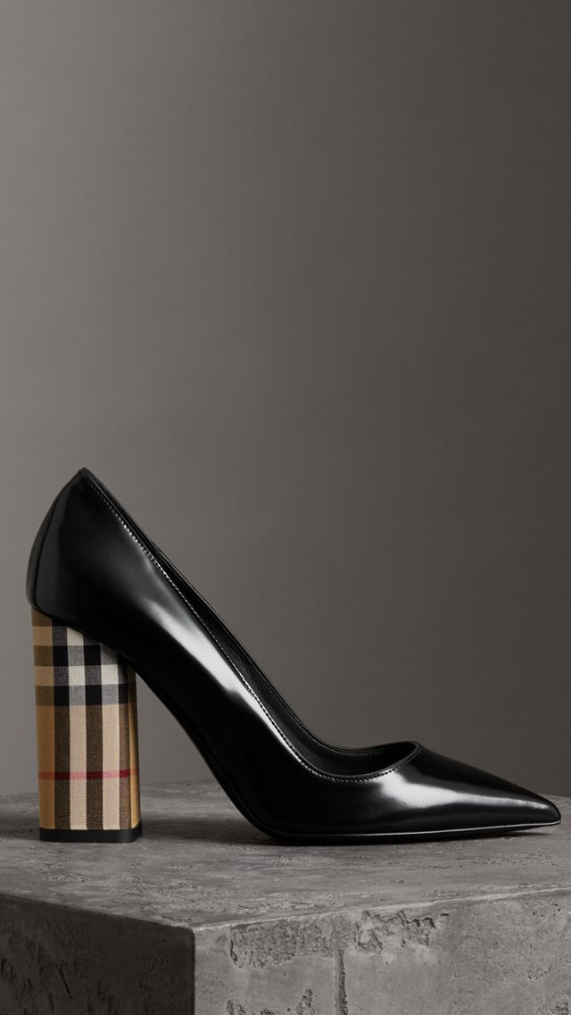 9a5b38b578cac Patent Leather and Vintage Check Block-heel Pumps in Black - Women