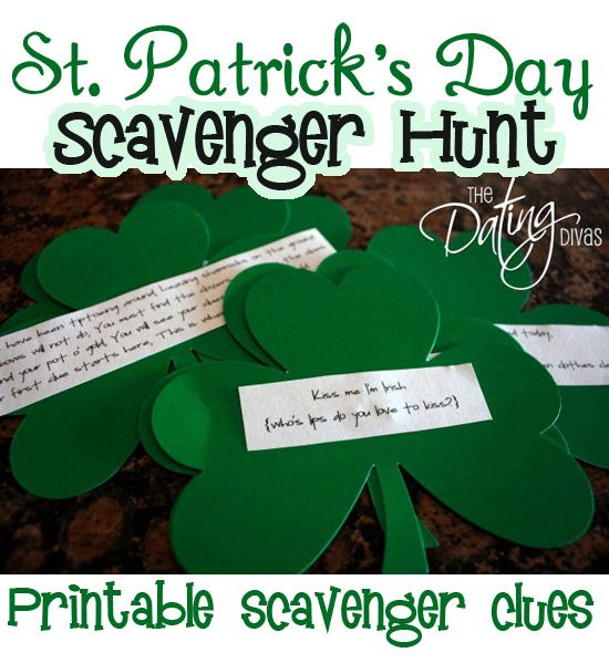Send your lucky little leprechauns on a St. Patty's Day Scavenger Hunt with this FREE printable.  www.TheDatingDivas.com