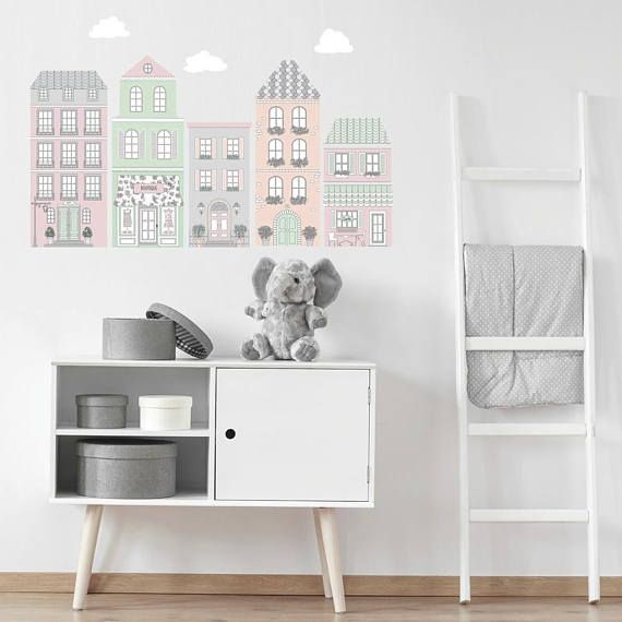 European Style Town Wall Decals, Pink and Gray Decals, Fabric Decals, Peel and Stick Wall Stickers, Eco Friendly, Matte, Town Wall Decals. Scandinavian style city wall stickers ideal for a girls nursery or bedroom. Pastel colors in pink, mint green, gray and coral. Five buildings