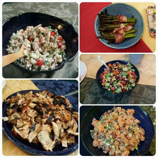 Quinoa wild rice lentil salad, Tequila lime bbq turkey, bacon wrapped ...