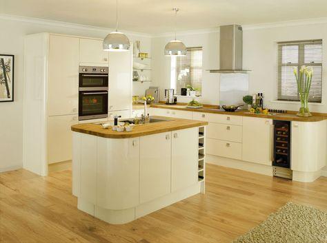 cream kitchen units white walls - Google Search
