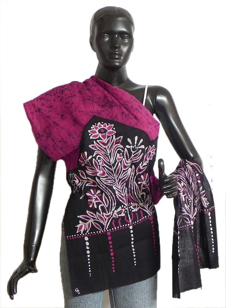 Dark Pink, White and Black Cotton Batik Scarf (Cotton Cloth)