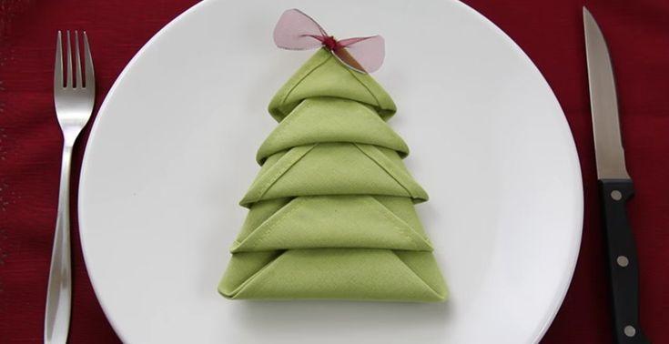 Afbeeldingsresultaat voor servet kerstboom vouwen