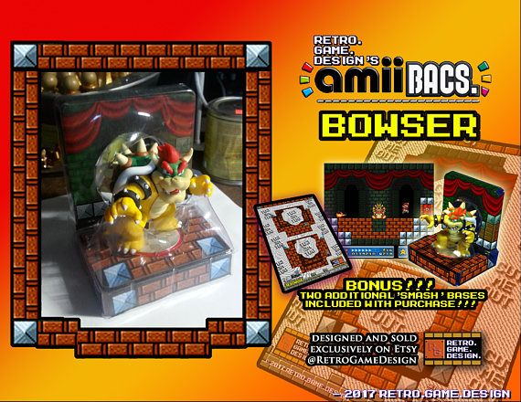 Super Mario Bowser AmiiBac (w/ BONUS Smash Bases)