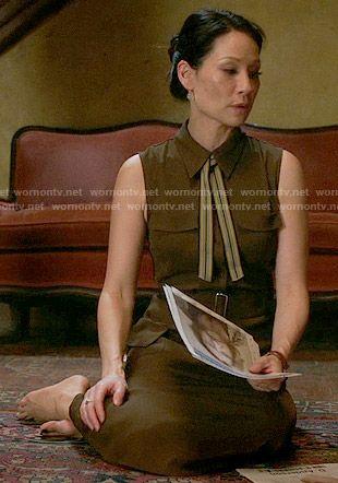Joan's brown midi shirtdress on Elementary.  Outfit Details: https://wornontv.net/55934/ #Elementary