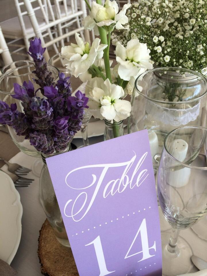 Table numbers and setting for wedding